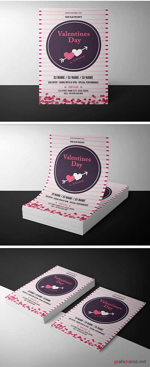 Valentine's Day Invitation Layout with Pink Stripes 246267447
