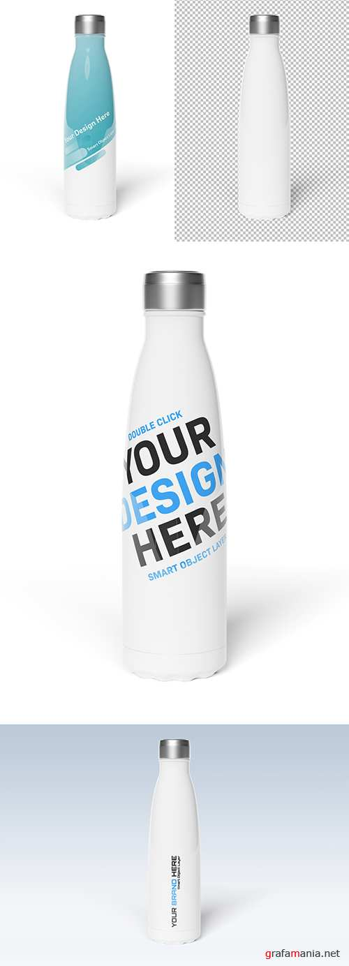 PSDT Sport Bottle on White Background Mockup 247831780