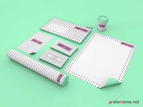 PSDT Stationery Set on Mint Green Background Mockup