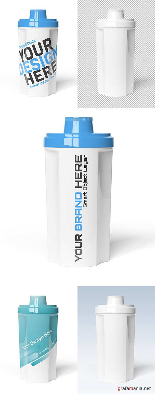 PSDT Protein Shaker on White Background Mockup 247831875