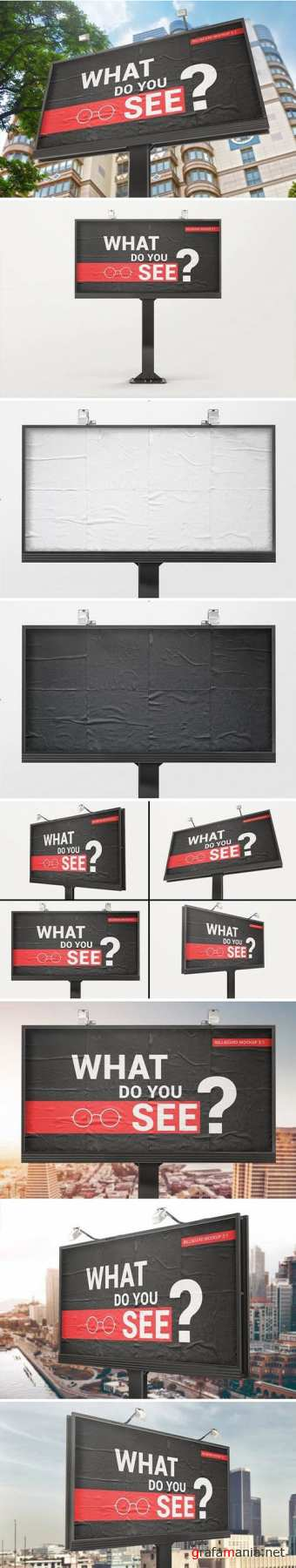 Billboard With Glued Paper Effect Mockups
