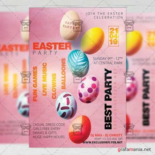 Seasonal A5 Flyer Template - Easter Party Celebration