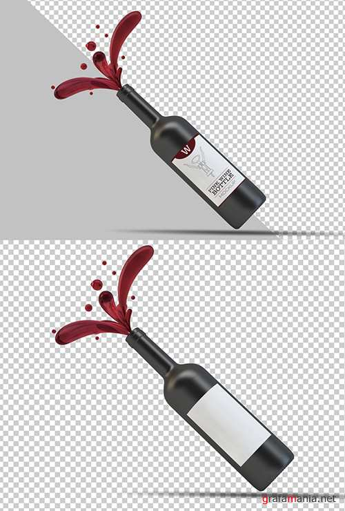 PSDT Wine Bottle Label Mockup 250706789