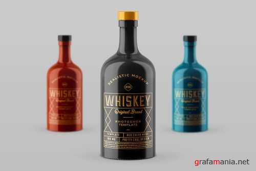 Whiskey Bottle Mock-up Template