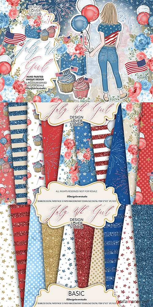 4th of July Girl design and digital paper pack