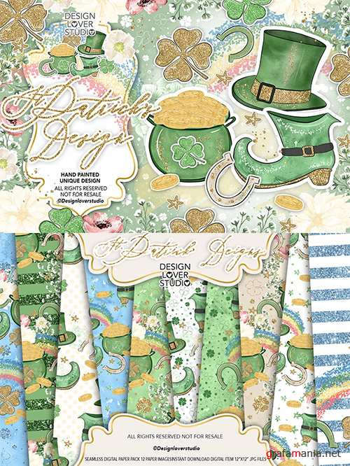 st. Patrick day design and digital paper pack