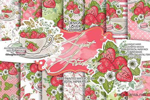 Sweet Strawberry digital paper pack