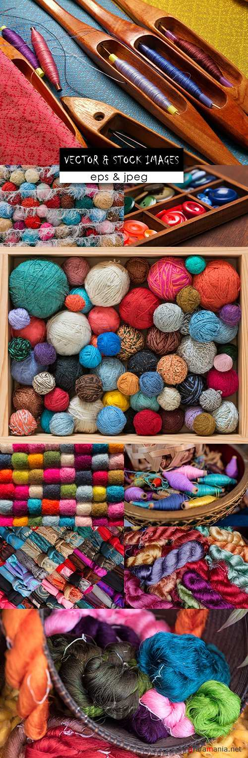 Threads balls color yarn and accessories for tailoring