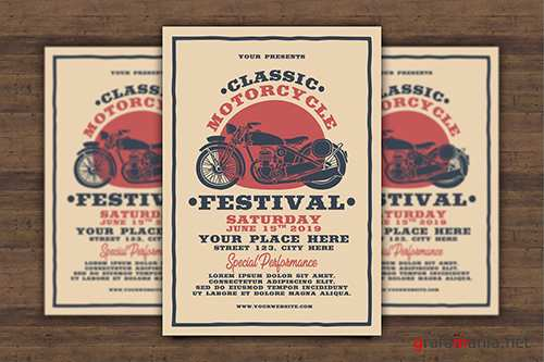 Classic Motorcycle Festival Flyer PSD