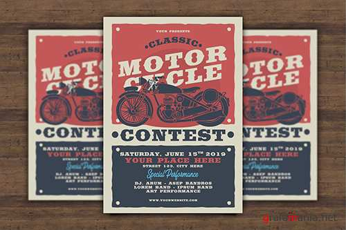 Classic Motorcycle Contest Flyer PSD