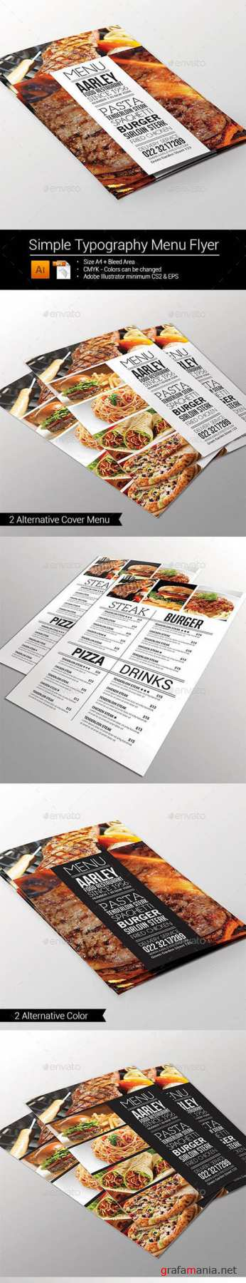 GR - Simple Typography Menu Flyer 10013533