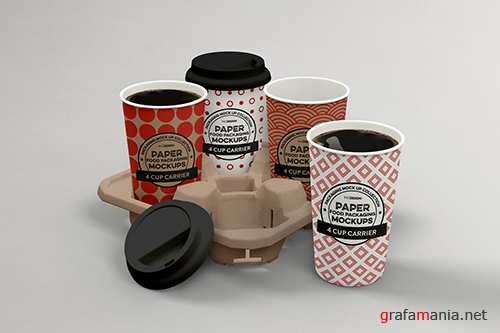 4-Cup Carrier Packaging Mockup
