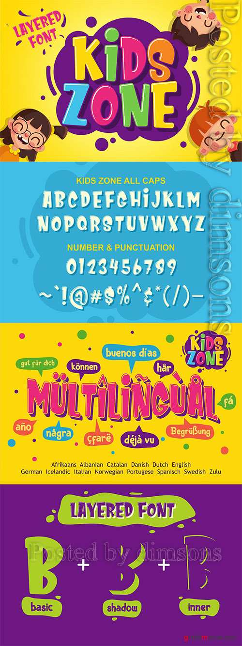 Kids Zone - Layered Font