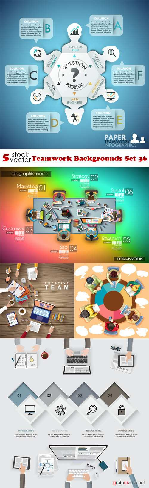 Vectors - Teamwork Backgrounds Set 36