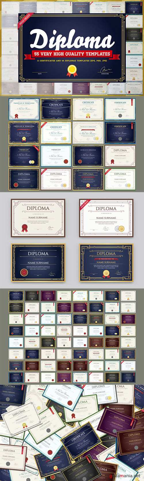 Awesome 55 Diploma & Certificate Templates