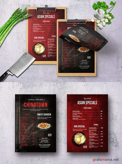 Chinese Single Page Food Menu V3 PSD