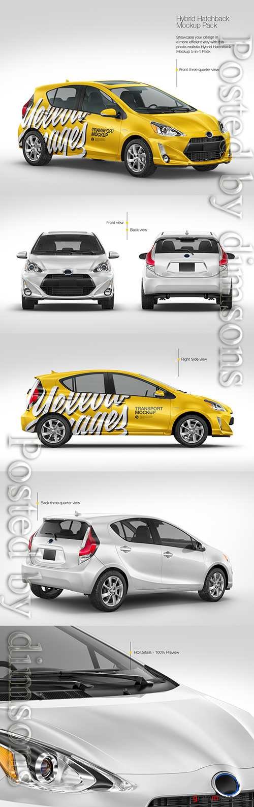 Hybrid Hatchback Car Mockup Pack TIF