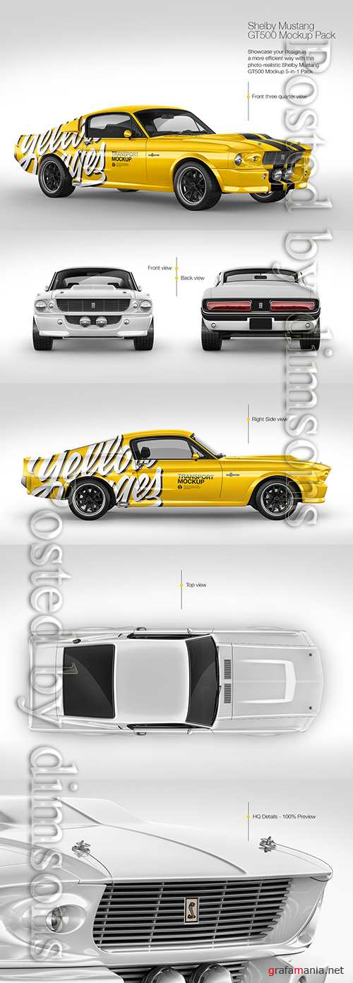 1967 Shelby Mustang GT500 Mockup Pack TIF