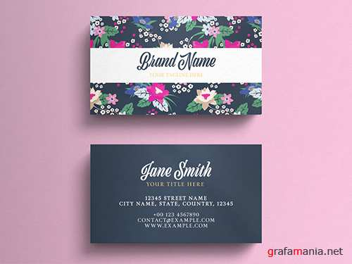 PSDT Business Card Layout On Floral Background 260559880