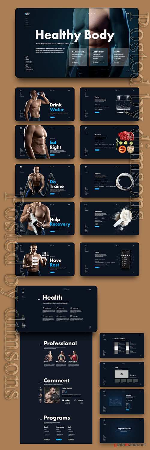 PSDT Fitness Website Layout 249569337