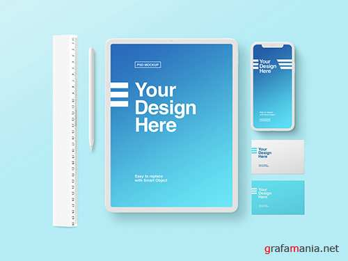 PSDT White Tablet, Phone, and Business Card Mockup on Blue Background 259195374