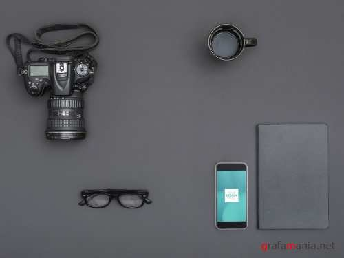 PSDT Smartphone with Camera and Assorted Objects Mockup 262608730