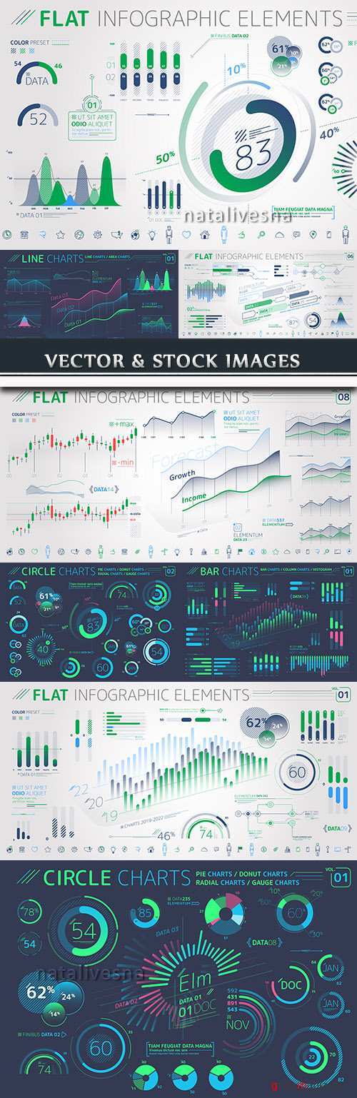 Business infographics options elements collection 54