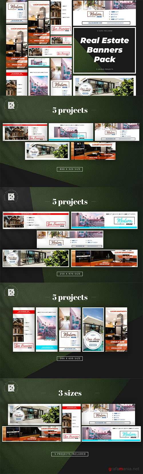 Real Estate Banner Pack PSD Templates