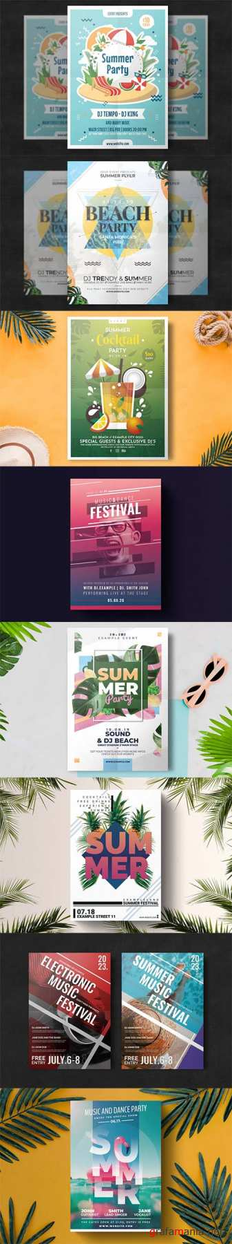 8 Summer Party Flyer Templates Pack PSD