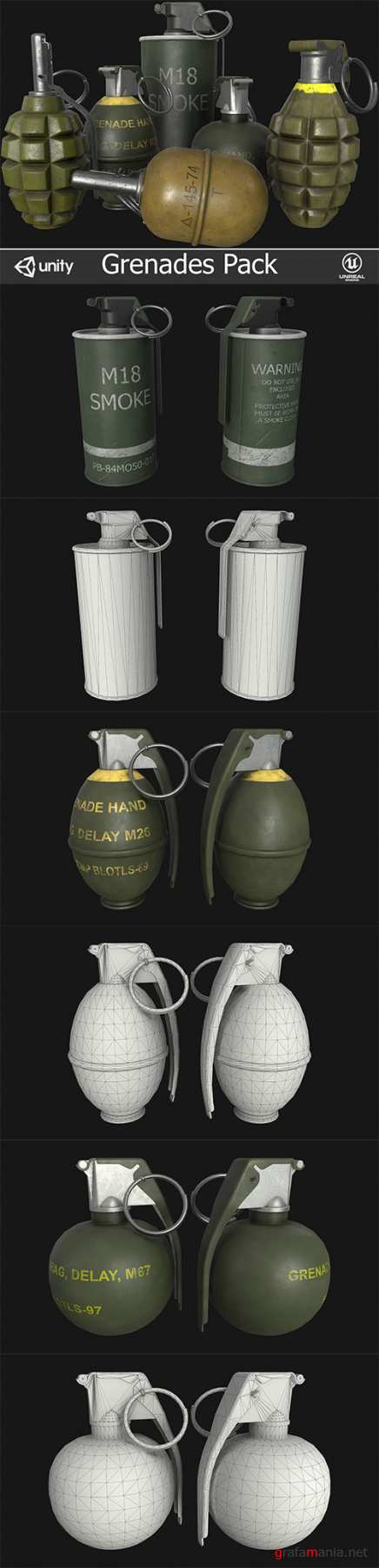 Grenades Pack Low-poly 3D model
