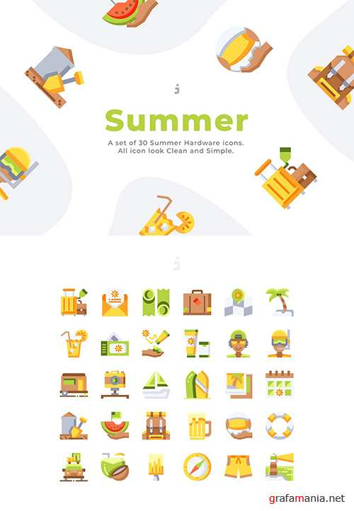 30 Summer Icons - Flat