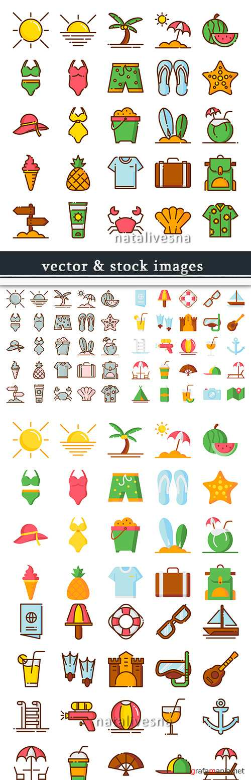 Summer beach holiday icons collection flat style