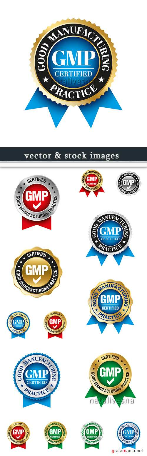 GMP badges with tapes gold style vector collection