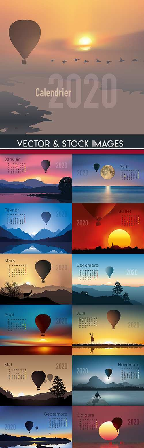 Calendar 2020 design French landscape and balloon
