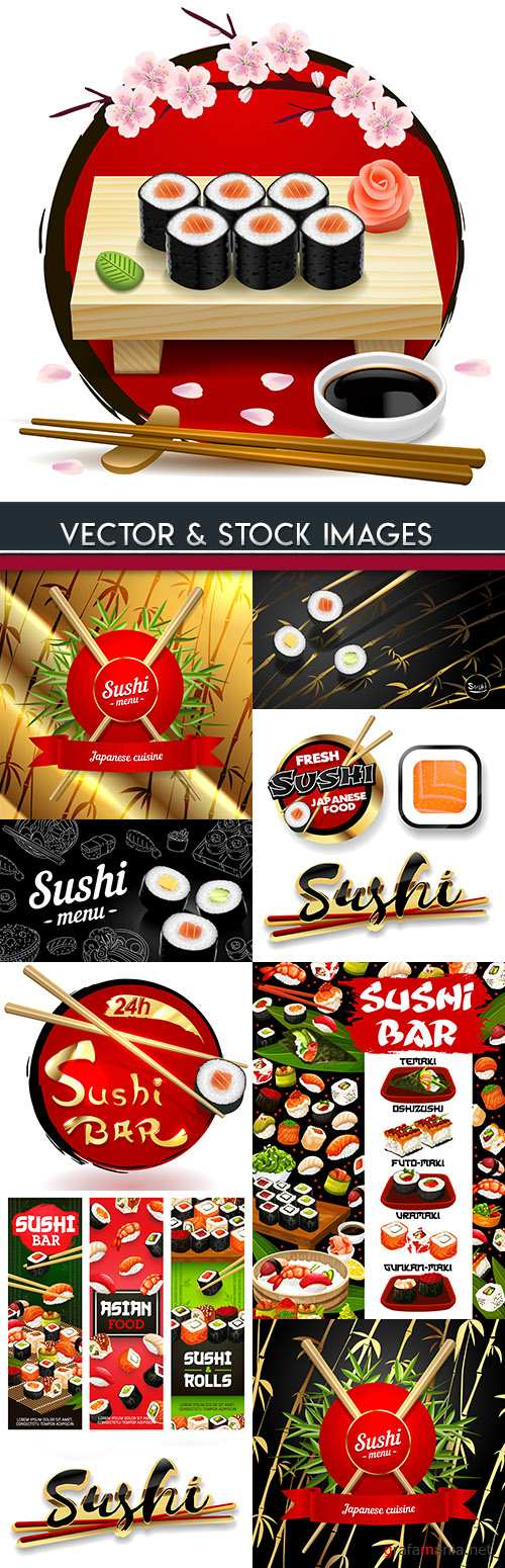 Sushi menu Japanese restaurant seafood and chopsticks