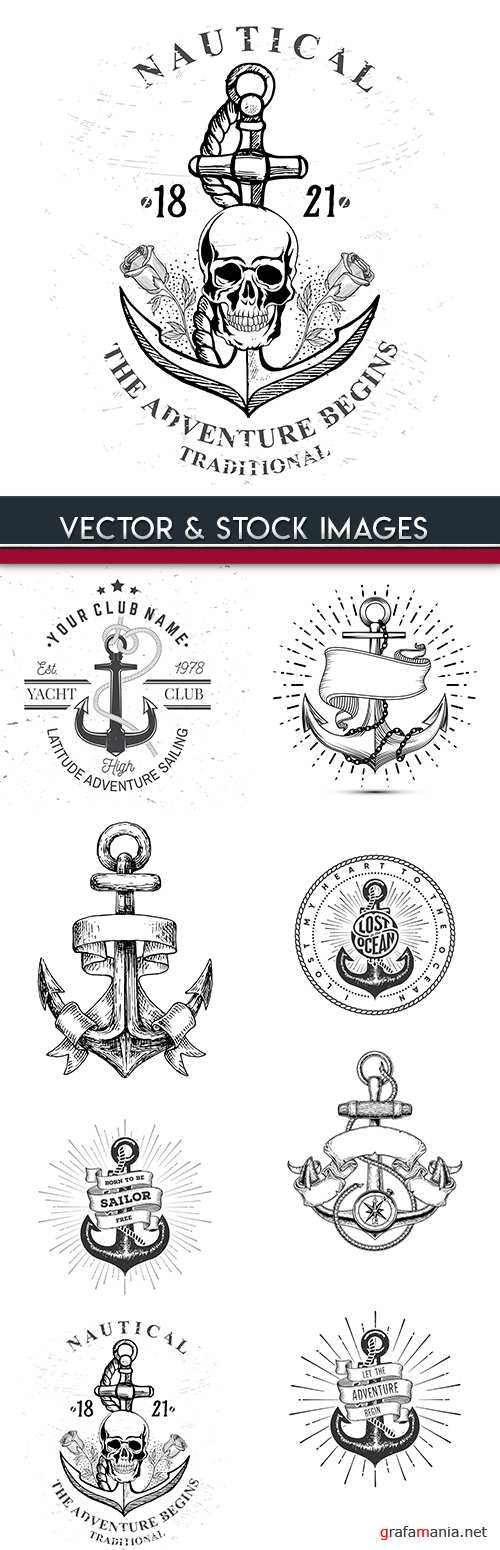 Sea anchor vintage drawn emblem tattoo design