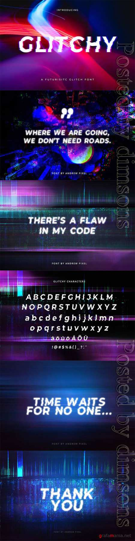 Glitchy - A digital Glitch Font