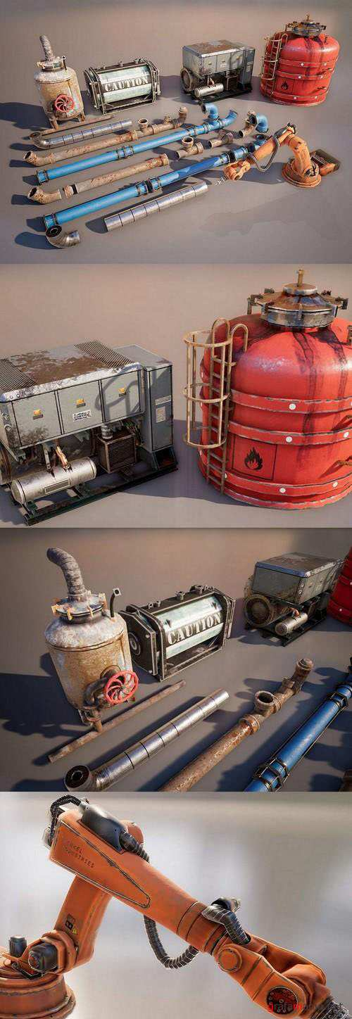 Industrial Props Set 3D Model