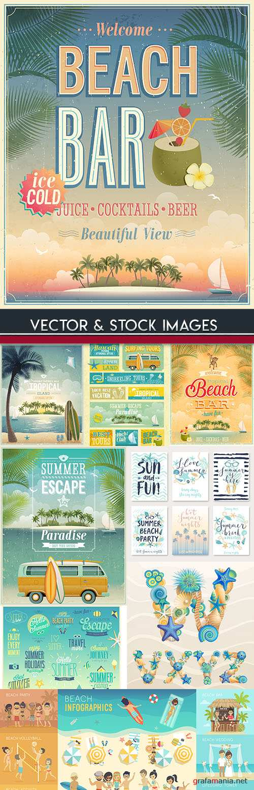 Tropical summer beach and rest by sea design flyer
