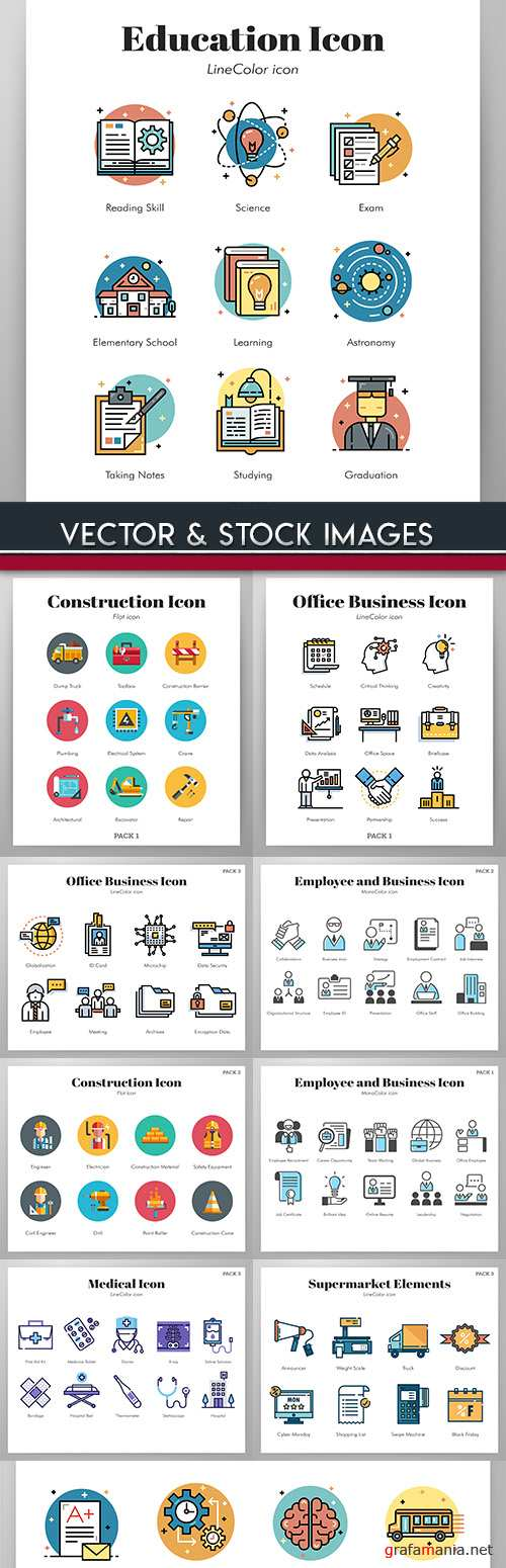 Collection icons Internet technology and social network 3