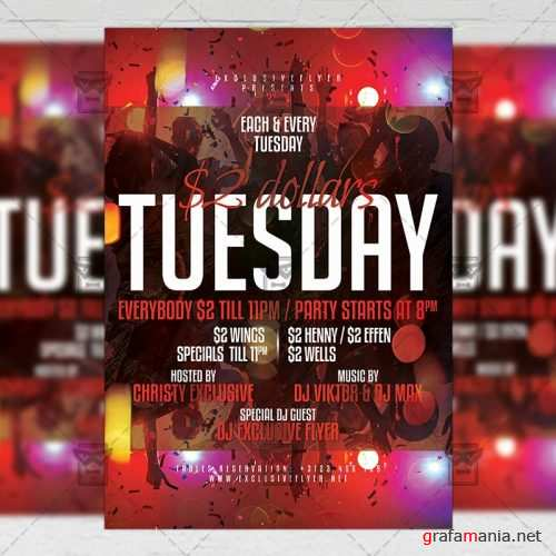 PSD Club A5 Template - Two Dollars Tuesday