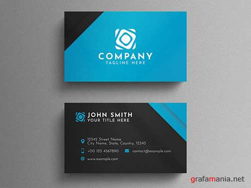 Black and Blue Corporate Business Card Layout 260559299 PSDT