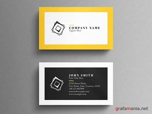 Black and Yellow Corporate Business Card Layout 260559536 PSDT