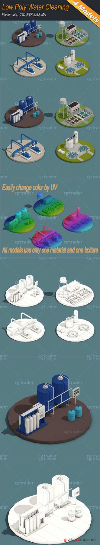 Low Poly Water Cleaning Isometric Low-poly 3D model