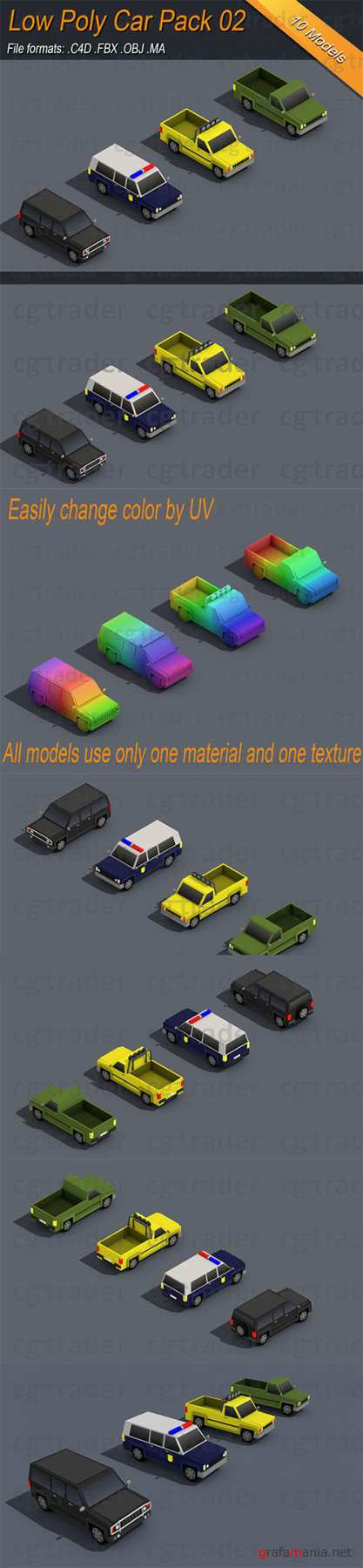 Low Poly Truck Pack 02 Isometric Low-poly 3D model