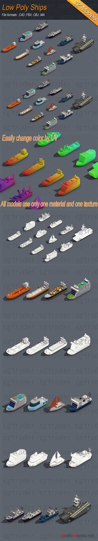 Low poly Ships pack 01 Isometric Low-poly 3D model