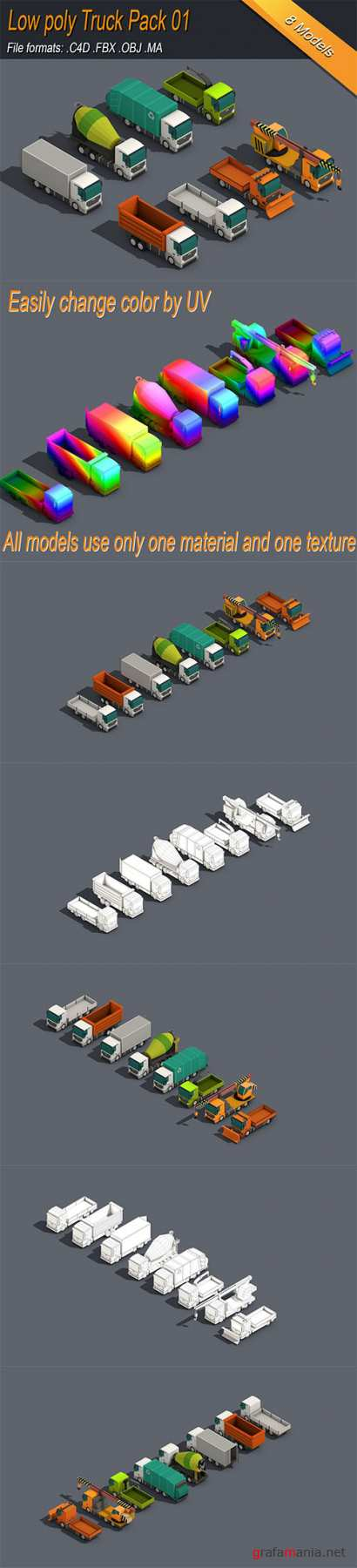 Low Poly Truck Pack 01 Isometric Low-poly 3D model