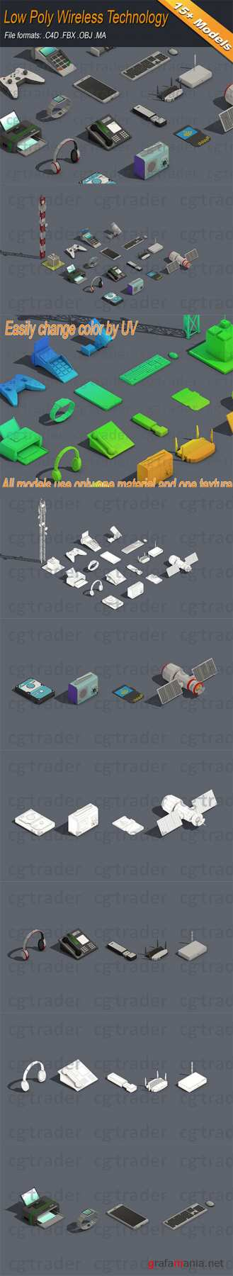 Low Poly Wireless Technology Isometric Low-poly 3D model
