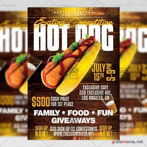 PSD Food A5 Template - Hot Dog Eating Competition