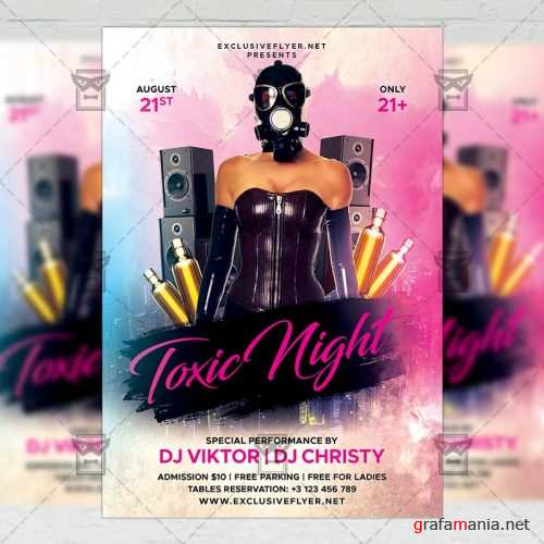 PSD Club A5 Template - Toxic Night Flyer